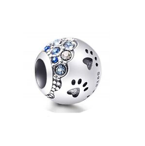 SOLID Sterling Silver Sparkling Paw Prints Blue CZ by Pandora's Wish