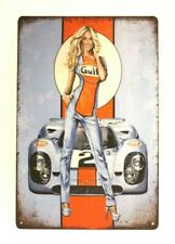 Gulf Racing Sexy Pinup Girl Tin Metal Poster Sign Vintage Style Man Cave Garage