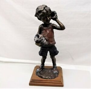 Vtg Gary Schildt Solid Bronze Sculpture Seashell Boy Statue Signed Numbered