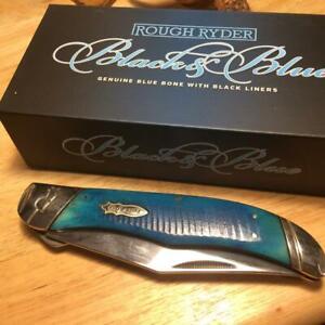 """Rough Ryder Black & Blue Series Fold Hunter 5 1/4"""" Linerlock Pocket Knife RR2117"""
