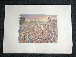 PAUL COX b1957 Limited Edition  LITHOGRAPH Three Men in a Boat 38/250
