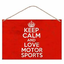 Keep Calm And Love Motor Sports - Vintage Look Metal Large Plaque Sign 30x20cm