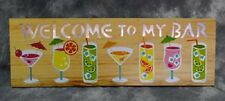 "8"" x 24""  ~~ Welcome To My Bar ~~ Fun Tropical, Tiki & Beach LED Wood Sign"