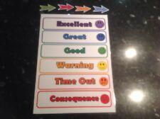 colour coded kids reward chart behaviour warning set toddlers children autism