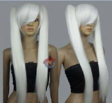 Long White Cosplay Straight Wig With Two Clip On Ponytails