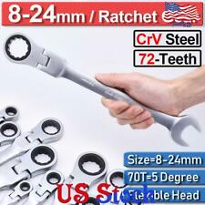 US 12Pcs Ratchet Spanner Gear ​Combination Flexible Head Wrench Tool Set 8-24mm
