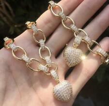 18k Gold GP Heart Pendant Necklace Bracelet made w Swarovski Diamond Pave Stone