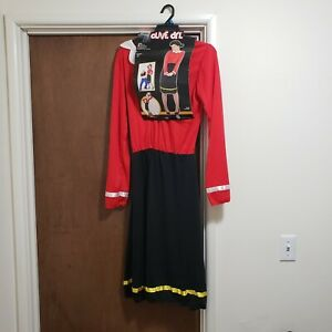 Olive Oyl Adult Womens Halloween Costume Dress Size Large 12-14 Red Black NO WIG