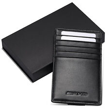 AMG Benz Car Sun Visor Credit Card Holder Genuine Leather Driving Licence Cover