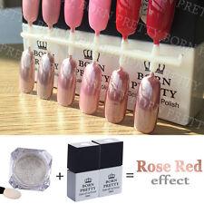1g/box Mirror Silver Powder Chrome Rose Gold Effect + Rose Red Soak off UV Gel