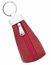 Visconti K10 Leather Key Ring KeyChain Zippered Coin Pouch Wallet (Red)