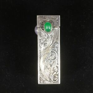 Vintage Sterling Silver Lipstick Case Mirror Floral Etched Green Stone Italy 925