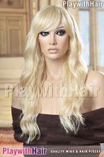 Sexy Soft Flowing Waves Wig Heat Friendly Safe OK Okay Platinum Blonde