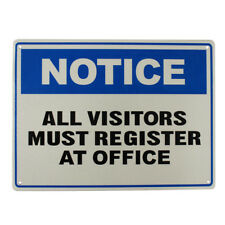 WARNING NOTICE ALL VISITORS MUST REGISTER AT OFFICE SIGN 225x300mm METAL GUEST
