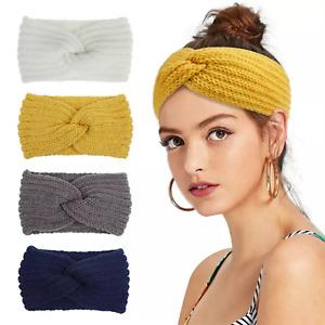 Stirnband Haarband Ohrwärmer Damen breit stretch Winter Sport Kopfband Wolle Neu