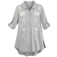 Caite Women's Floral Embroidered Tunic Top -Button Front Long Sleeve Gray Shirt
