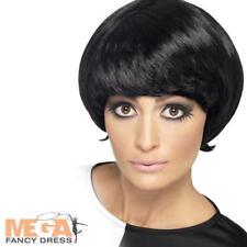 1960s Black Psychedelic Wig Ladies Fancy Dress Womens Sixties 60s Costume Wig