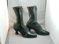 Antique Victorian Black Leather Lace Up Granny Boots Shoes Heels