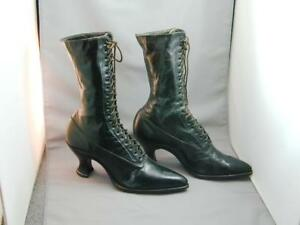 Vintage Brown Lace Up Buckles Granny Flat Victorian Style 80s Eddie Bauer Leather Ankle Boots 10 Women/'s US 10M