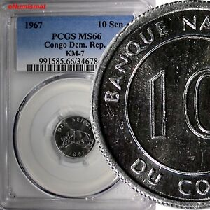 Congo, Democratic Republic 1967 10 Sengis PCGS MS66 TOP GRADED BY PCGS KM# 7 (8)