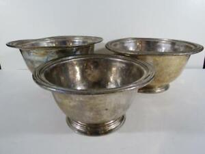 (3) Vintage Ritz Carlton Hotel Silver Plate Bowls