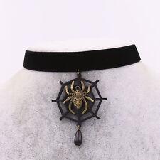 UK Black Velvet Spider Web Collar Choker Necklace Vintage Jewelry Halloween Gift