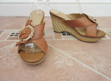 WOMENS TAN LEATHER WEDGE HEEL MULES - NATURALIZER - SIZE 5.5