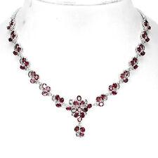 Silver 925 Genuine Natural Raspberry Pink Rhodolite Garnet Necklace 22 Inch