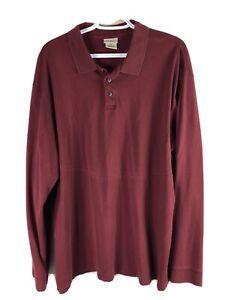 LL Bean Polo Shirt Mens XXLT 2XLT Purple Long Sleeve 100% Pima Cotton Euc