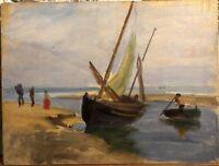 TABLEAU Ancien Huile 1900 CHARLES WISLIN Paysage Marine Bretagne Breton CW5