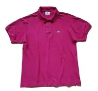 LACOSTE POLO SHIRT DEVANLAY MAGENTA PINK COTTON REGULAR FIT SIZE 4 S (40)