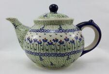 Bunzlauer Keramik Teekanne, Kanne für 1,3Liter Tee, blau/weiß/grün, (C017-MC15)