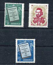 YUGOSLAVIA 1947 GORSKI VIJENAC NATIONAL EPIC SCOTT 215-217 PERFECT MNH