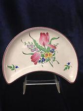 """LUNEVILLE FRANCE K & G OLD STRASBOURG CRESCENT SALAD PLATE 8 1/2"""" TULIPS FLOWERS"""