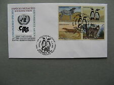 UNITED NATIONS VIENNA, cover FDC 1993, block of 4, zebra penguin wolf lizzard