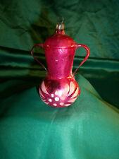 antike Christbaumkugel Formteil Glas Pokal Henkelvase Kanne rosa weiß Lauscha