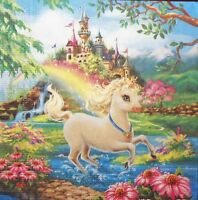 4 x  single PAPER NAPKINS unicorn  flowers  castl DECOUPAGE AND CRAFT 204