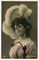 c 1907 Vintage European STYLISH BEAUTY Jewelry hand tinted photo postcard