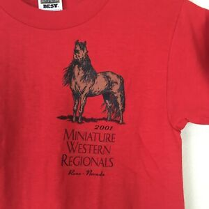 Miniature Horse Western Regionals T-Shirt Youth Medium Red Pony Graphic NEW