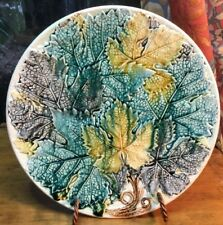 "Antique ""Overlapping Maple Leafs"" Majolica Platter is Early Autumn"