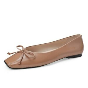 Retro Womens Loafers Bowknot Flats Casual Light Comfort Square Toe Shoes Slip On