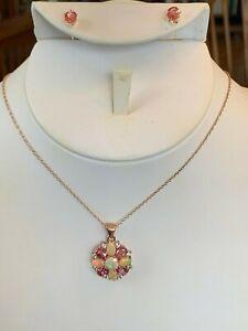 "Ethiopian Opal Primrose Zircon Topaz Necklace Pendant Earrings 18"" Silver set"