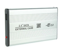 "Gehäuse 2,5"" f. externe Festplatte SATA USB 2.0 2,5 Zoll ALU 3TB HDD SSD Silber"