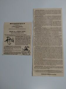 1961 Monopoly Parker Brothers Original Game Instructions and Rules Sheets