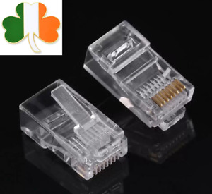 Network Ethernet RJ45 LAN CAT5e Cable Crimp End Plug Connector Internet Connect