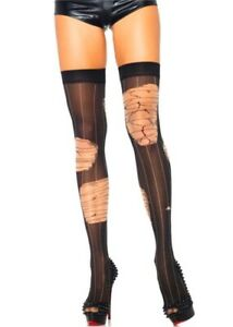 Leg Avenue Halloween Distressed Striped Thigh High Stay Up/Hold Up Stockings O/S