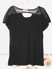 Lavish Black Knit Top S Stretch Women Hole in the back Loose Fit Stretch