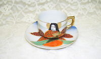ORIENTAL DEMITASSE CUP AND SAUCER VINTAGE MORIAGE PAINTING W/ GOLD TRIM