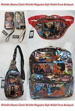 New Michelle Obama Clutch Wristlet Magazine Style Backpack Wallet Purse Handbag