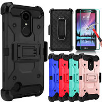 For LG K20 V/K20 Plus Case With Kickstand Belt Clip Cover+Glass Screen Protector